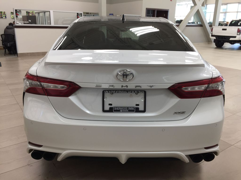 White[Platinum White Pearl w/Black Roof] 2018 Toyota Camry XSE V6 Rear of Vehicle Photo in Sherwood Park AB