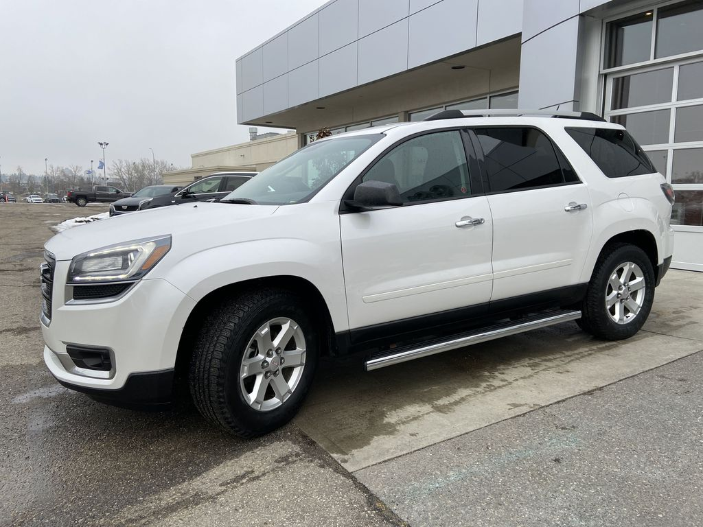 White[White Frost Tricoat] 2016 GMC Acadia SLE Left Front Corner Photo in Calgary AB