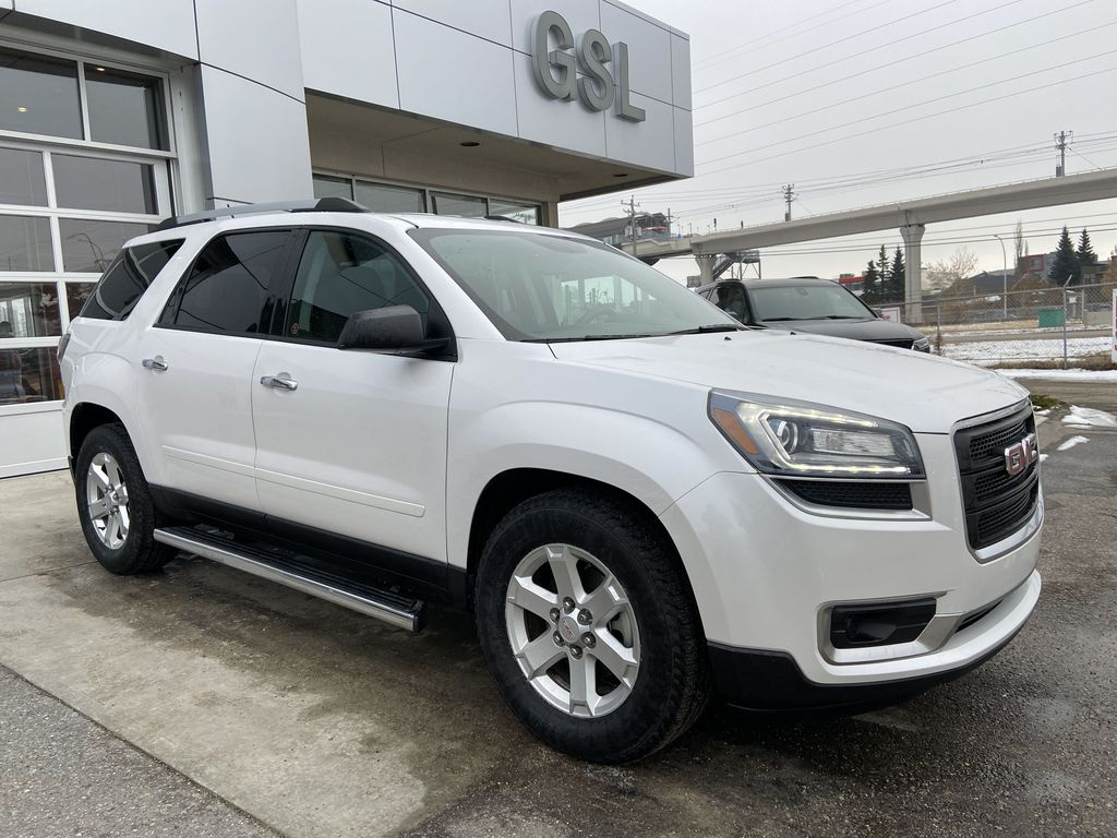 White[White Frost Tricoat] 2016 GMC Acadia SLE Right Front Corner Photo in Calgary AB