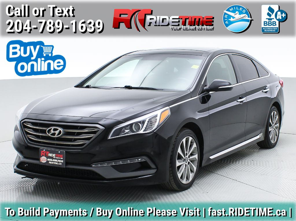Black[Black Noir Pearl Metallic] 2015 Hyundai Sonata Sport Tech - Panoramic Roof, Navigation, Bluetooth