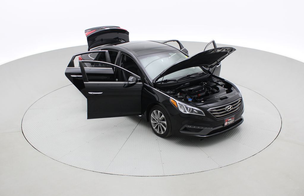 Black[Black Noir Pearl Metallic] 2015 Hyundai Sonata Sport Tech - Panoramic Roof, Navigation, Bluetooth Left Front Corner Photo in Winnipeg MB