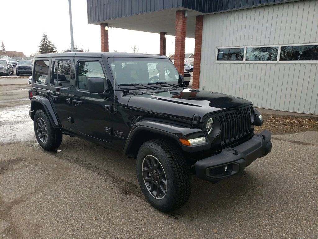 Black 2021 Jeep Wrangler Left Front Rim and Tire Photo in Fort Macleod AB