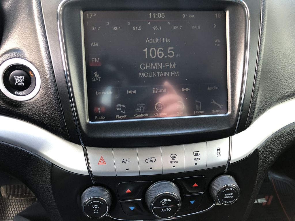 Black[Pitch Black] 2015 Dodge Journey R/T Radio Controls Closeup Photo in Canmore AB