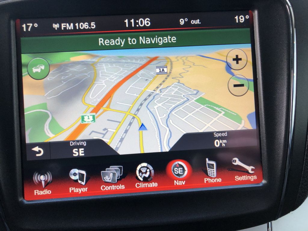 Black[Pitch Black] 2015 Dodge Journey R/T Navigation Screen Closeup Photo in Canmore AB