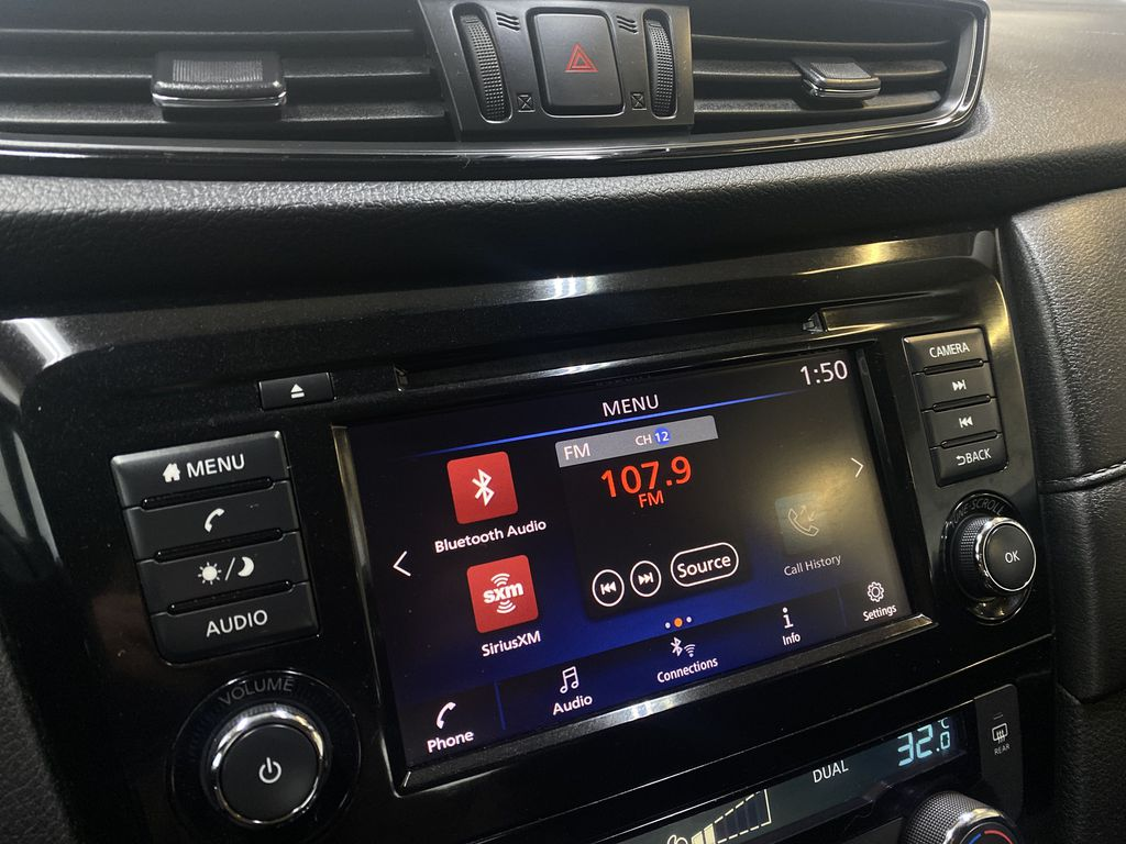 WHITE 2020 Nissan Rogue S AWD - Backup Camera, Bluetooth, Blind Spot Monitor Radio Controls Closeup Photo in Edmonton AB