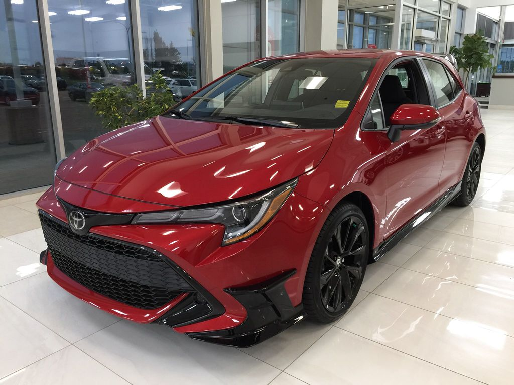 Red[Supersonic Red] 2021 Toyota Corolla Special Edition Hatchback Left Front Corner Photo in Sherwood Park AB