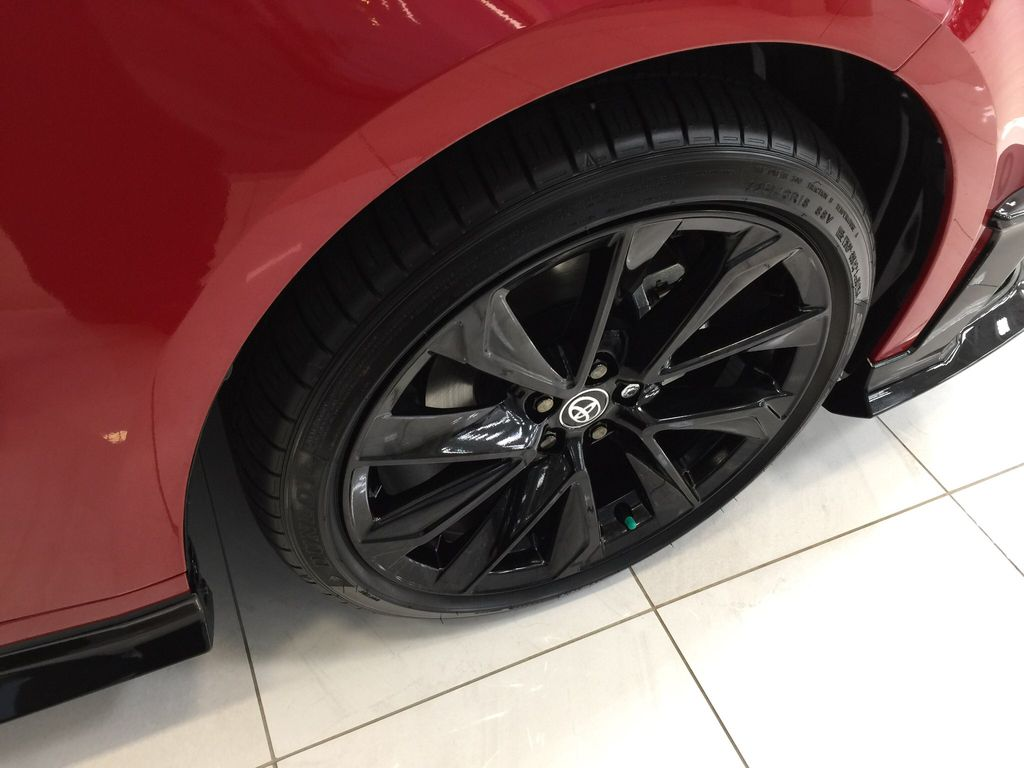 Red[Supersonic Red] 2021 Toyota Corolla Special Edition Hatchback Right Front Rim and Tire Photo in Sherwood Park AB
