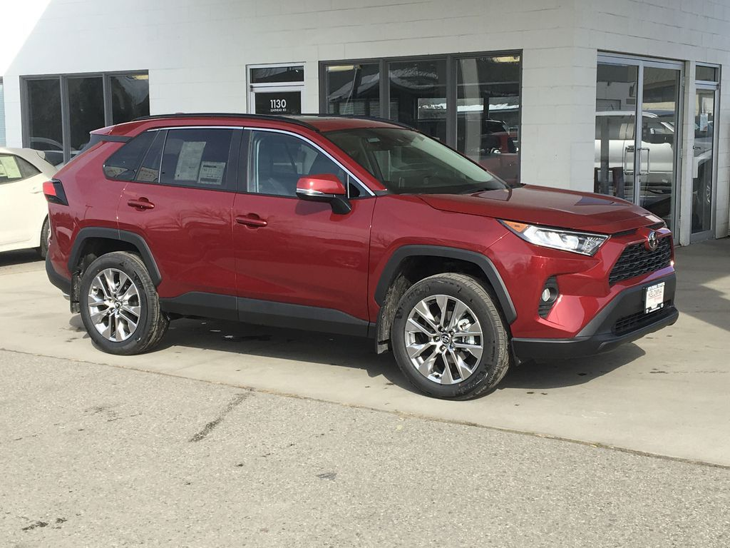 Red[Ruby Flare Pearl] 2021 Toyota RAV4 XLE Premium Right Front Corner Photo in Kelowna BC