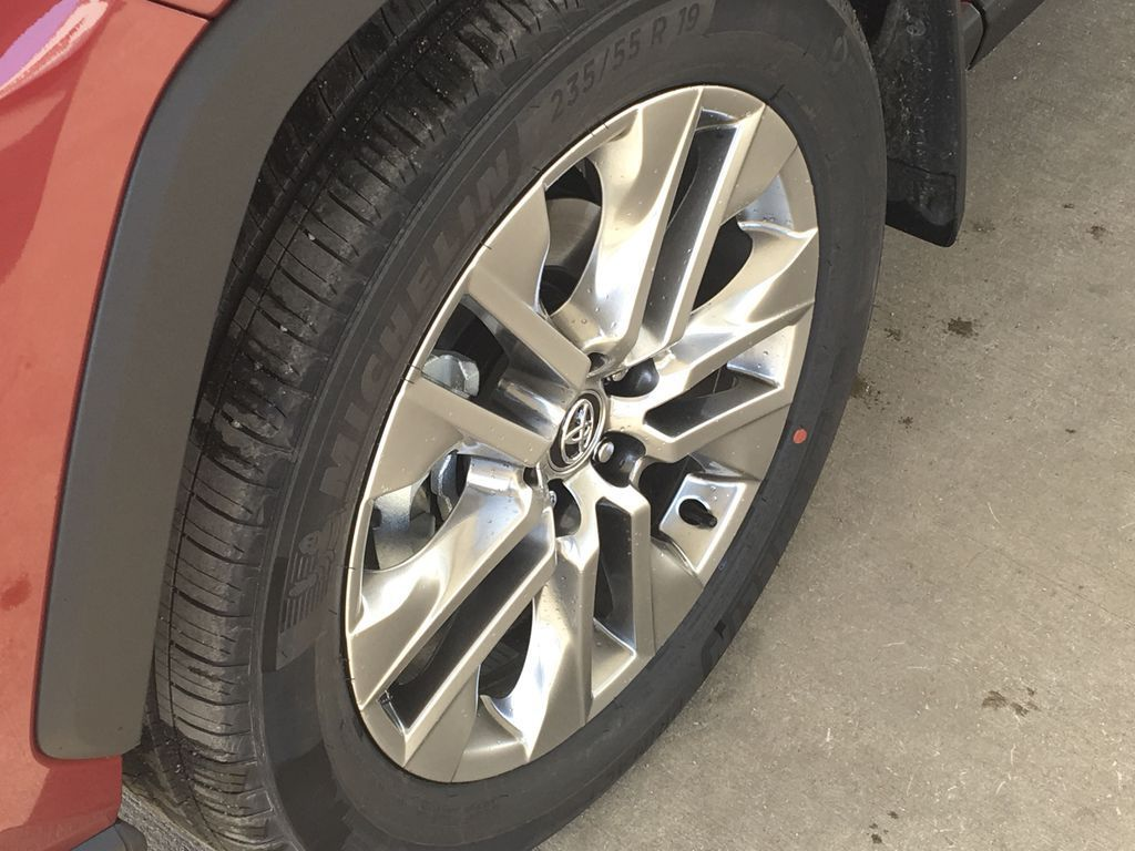 Red[Ruby Flare Pearl] 2021 Toyota RAV4 XLE Premium Left Front Rim and Tire Photo in Kelowna BC