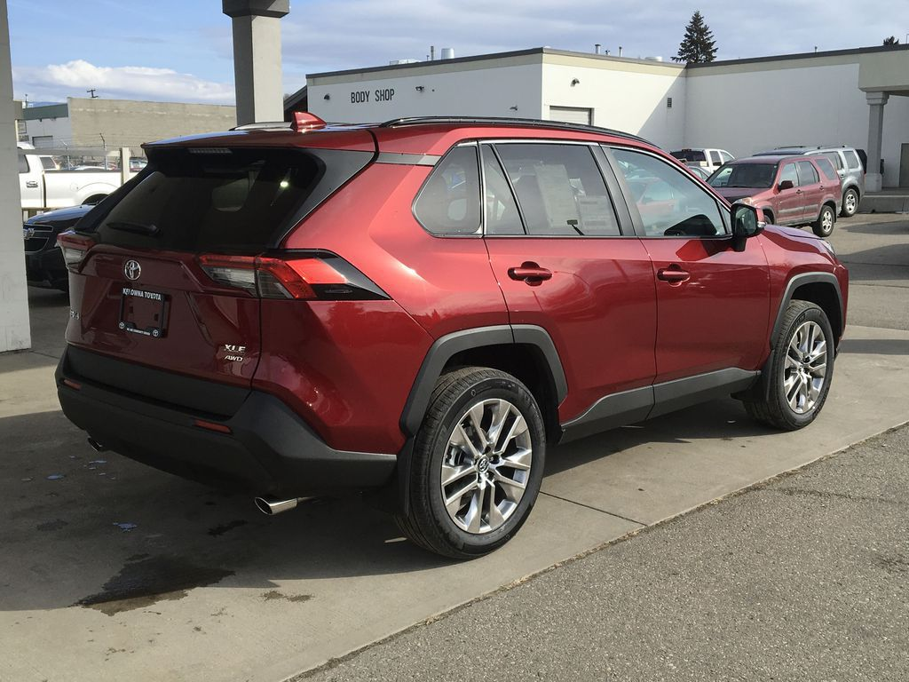 Red[Ruby Flare Pearl] 2021 Toyota RAV4 XLE Premium Right Rear Corner Photo in Kelowna BC