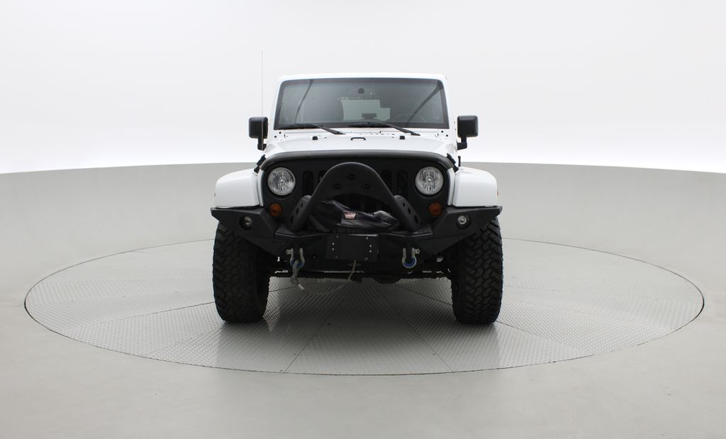 White[Bright White] Lifted 2013 Jeep Wrangler Unlimited Sahara - Leather, NAV, WARN Winch Front Vehicle Photo in Winnipeg MB