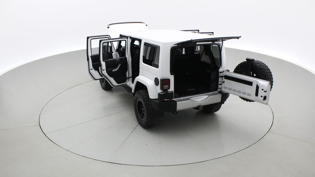 White[Bright White] Lifted 2013 Jeep Wrangler Unlimited Sahara - Leather, NAV, WARN Winch Right  Rear Corner Photo in Winnipeg MB