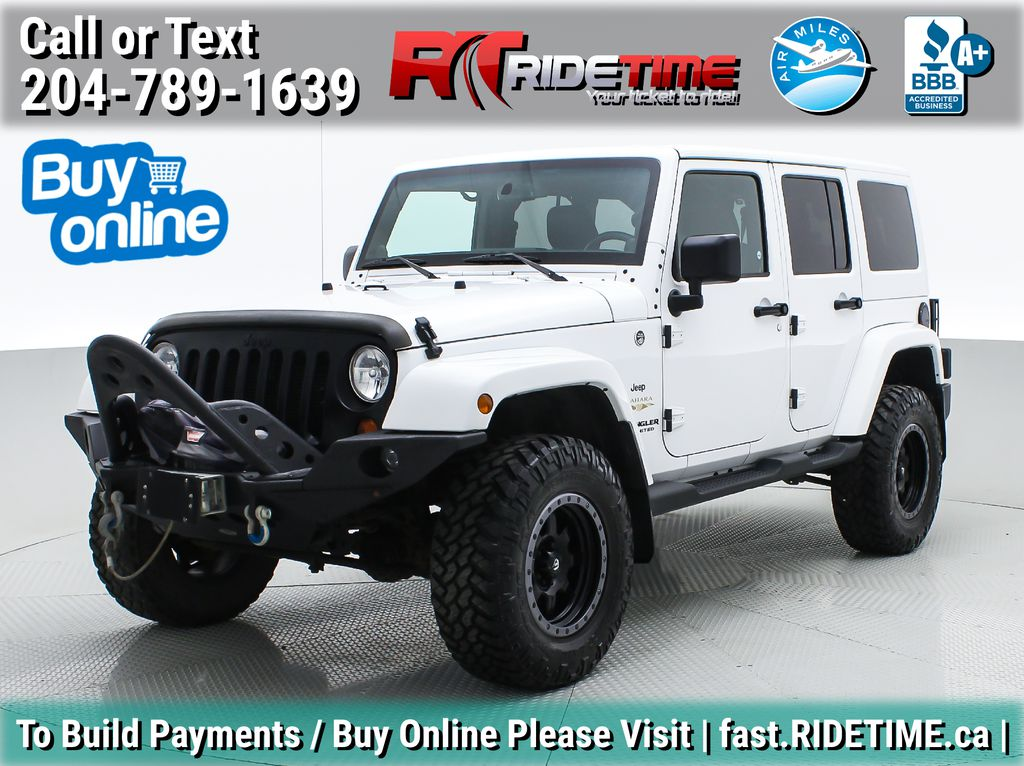 White[Bright White] Lifted 2013 Jeep Wrangler Unlimited Sahara - Leather, NAV, WARN Winch