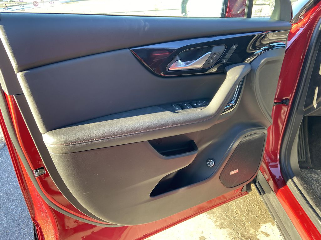 Red[Cherry Red Tintcoat] 2021 Chevrolet Blazer RS Left Front Interior Door Panel Photo in Calgary AB