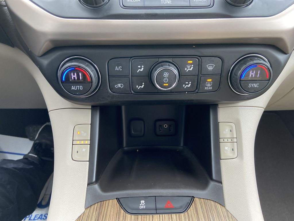 White[White Frost Tricoat] 2017 GMC Acadia Denali Central Dash Options Photo in Calgary AB