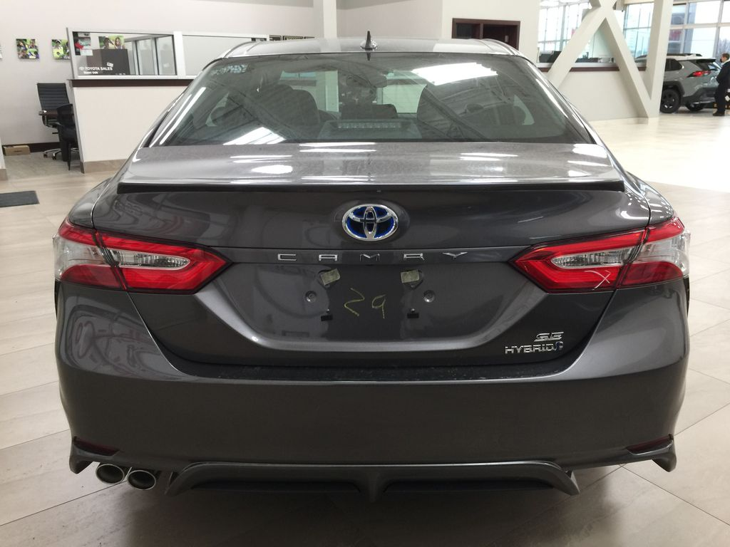 Gray[Pre-Dawn Grey Mica] 2020 Toyota Camry SE Hybrid Rear of Vehicle Photo in Sherwood Park AB