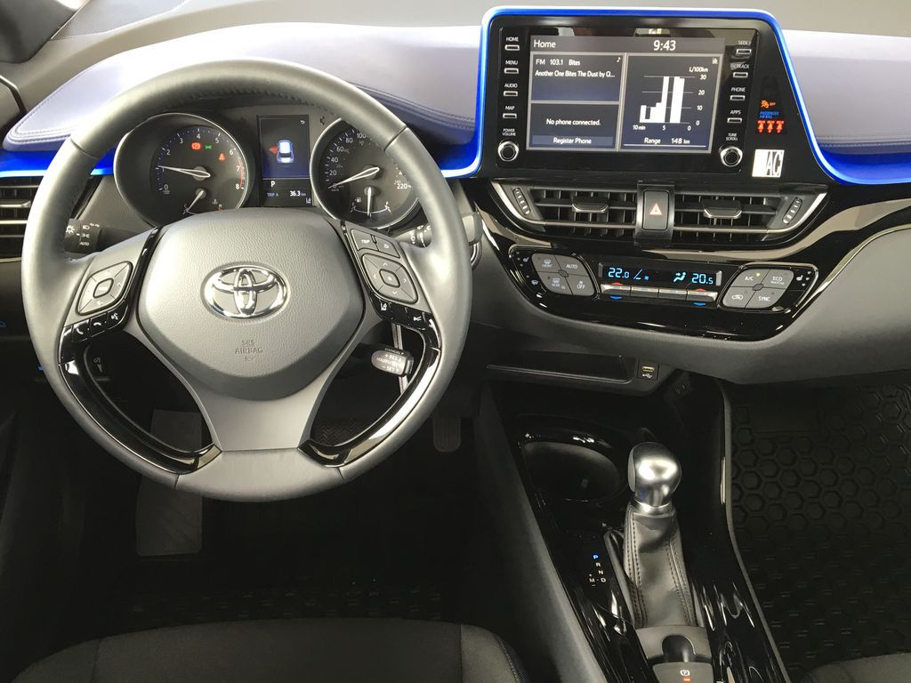 White[Blizzard Pearl] 2021 Toyota C-HR XLE Premium Steering Wheel and Dash Photo in Kelowna BC