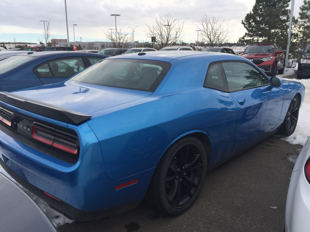 Blue[B5 Blue Pearl] 2016 Dodge Challenger SXT BLACK TOP EDITION / LEATHER Rear of Vehicle Photo in Sherwood Park AB