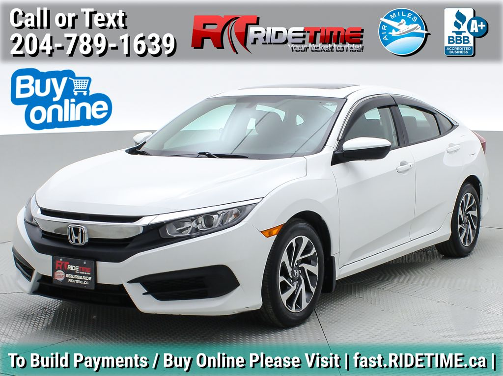 White[White Orchid Pearl] 2016 Honda Civic EX Sedan - CLEAN CARFAX, Sunroof, Bluetooth