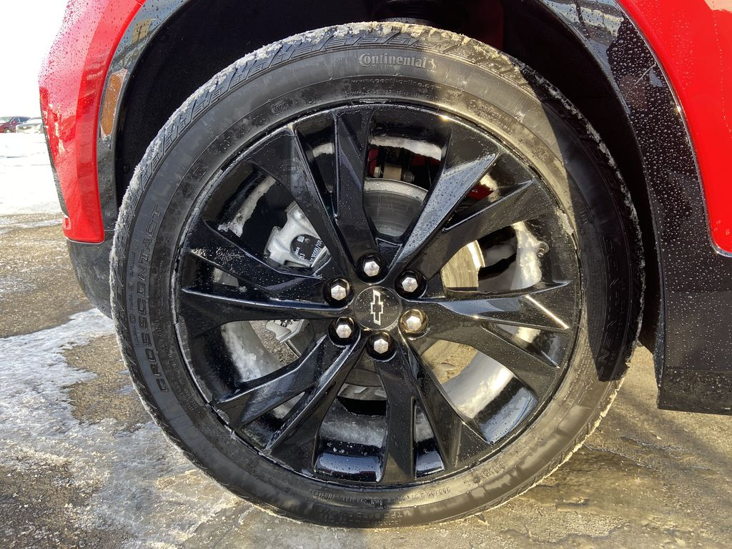 Red[Cherry Red Tintcoat] 2021 Chevrolet Blazer RS Left Front Rim and Tire Photo in Calgary AB