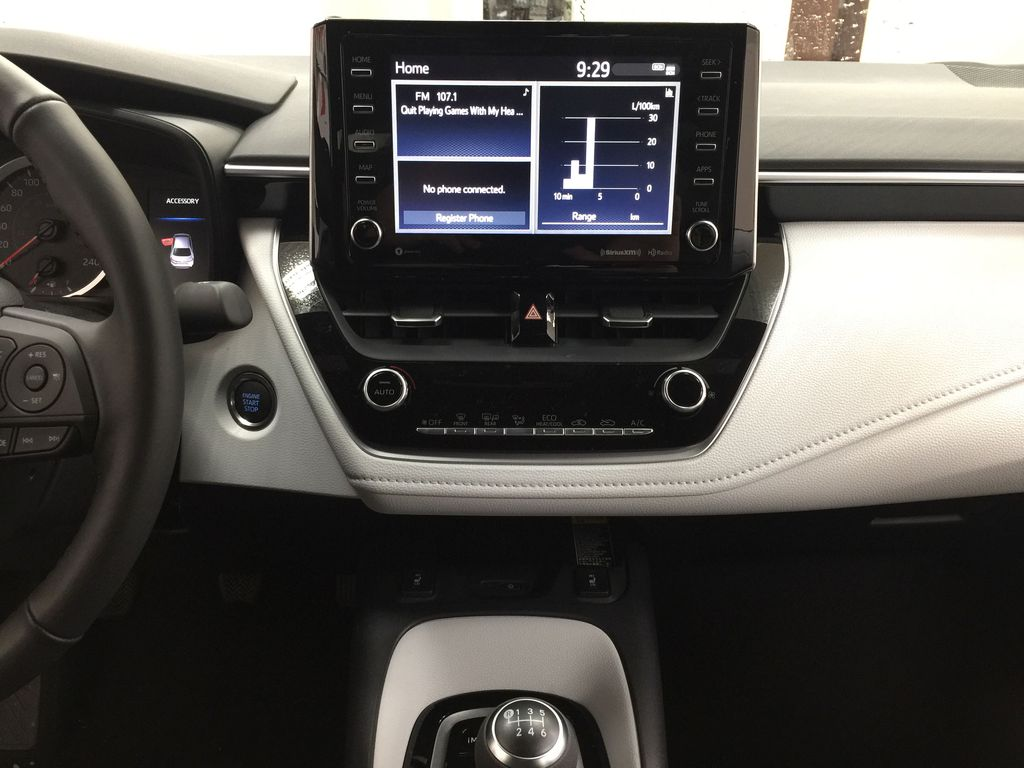 Gray[Cement Grey Metallic] 2021 Toyota Corolla Apex Edition Central Dash Options Photo in Sherwood Park AB