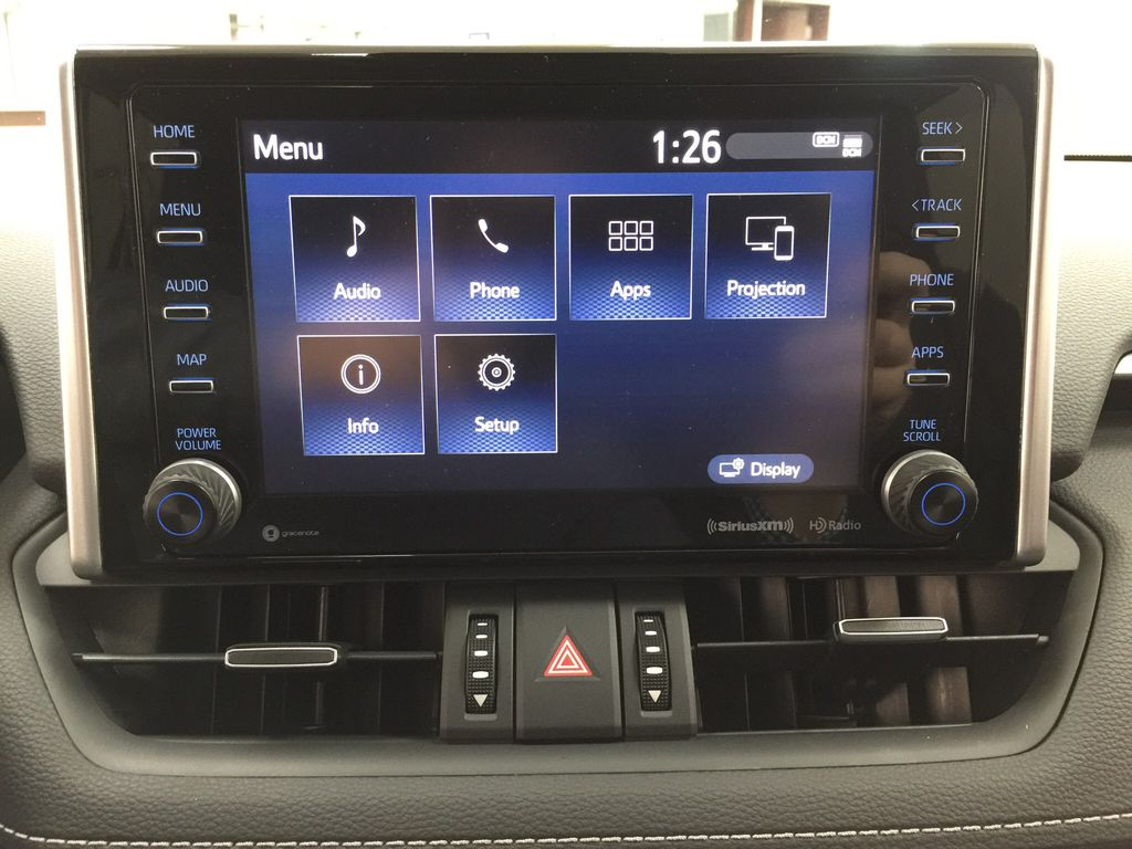 Silver[Silver Sky Metallic] 2021 Toyota RAV4 XLE Premium Infotainment Closeup Photo in Sherwood Park AB