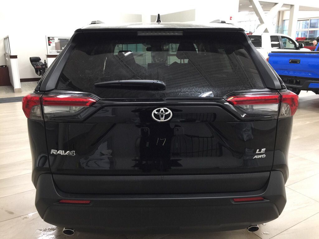 Black[Midnight Black Metallic] 2021 Toyota RAV4 LE AWD Rear of Vehicle Photo in Sherwood Park AB