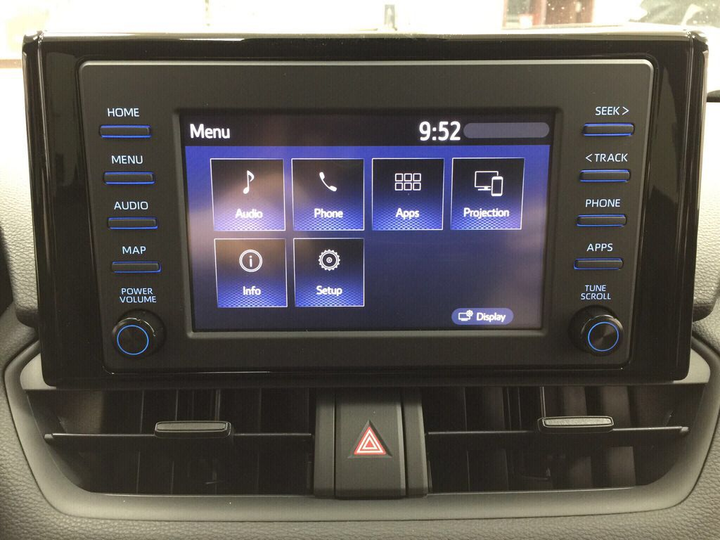 Black[Midnight Black Metallic] 2021 Toyota RAV4 LE AWD Infotainment Closeup Photo in Sherwood Park AB