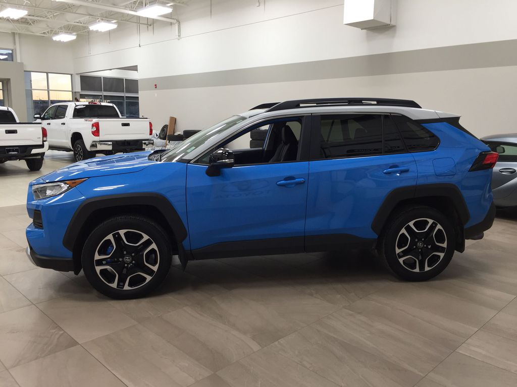 Blue[Blue Flame w/Ice Edge Roof] 2020 Toyota RAV4 Trail AWD Left Side Photo in Sherwood Park AB
