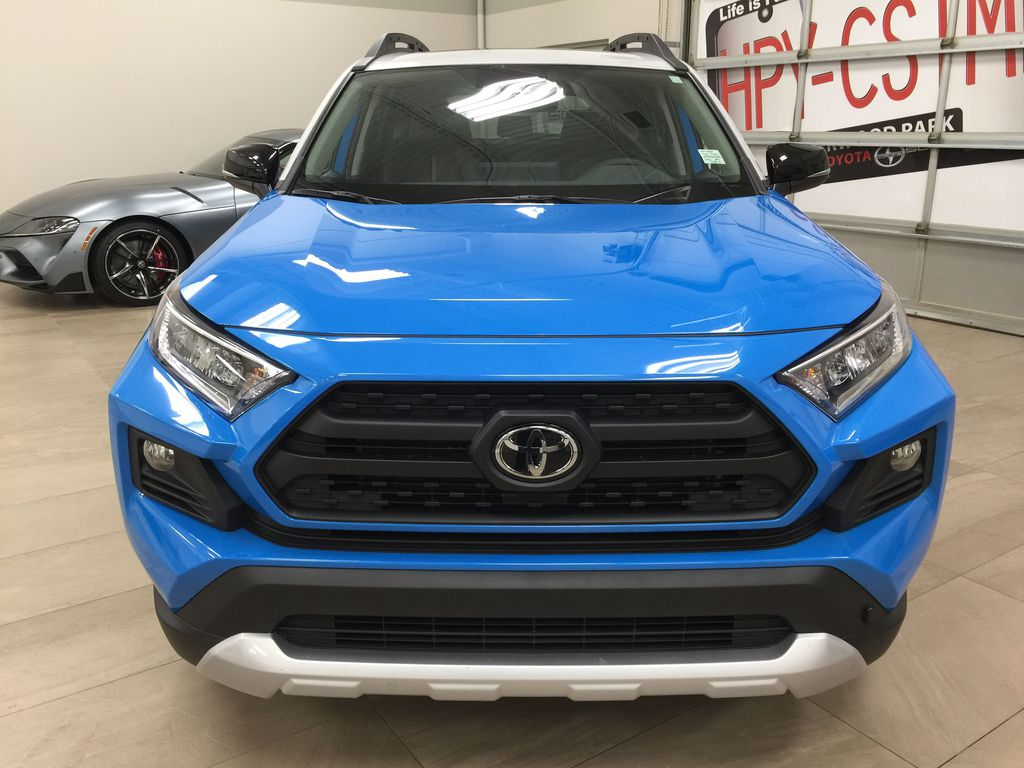 Blue[Blue Flame w/Ice Edge Roof] 2020 Toyota RAV4 Trail AWD Front Vehicle Photo in Sherwood Park AB