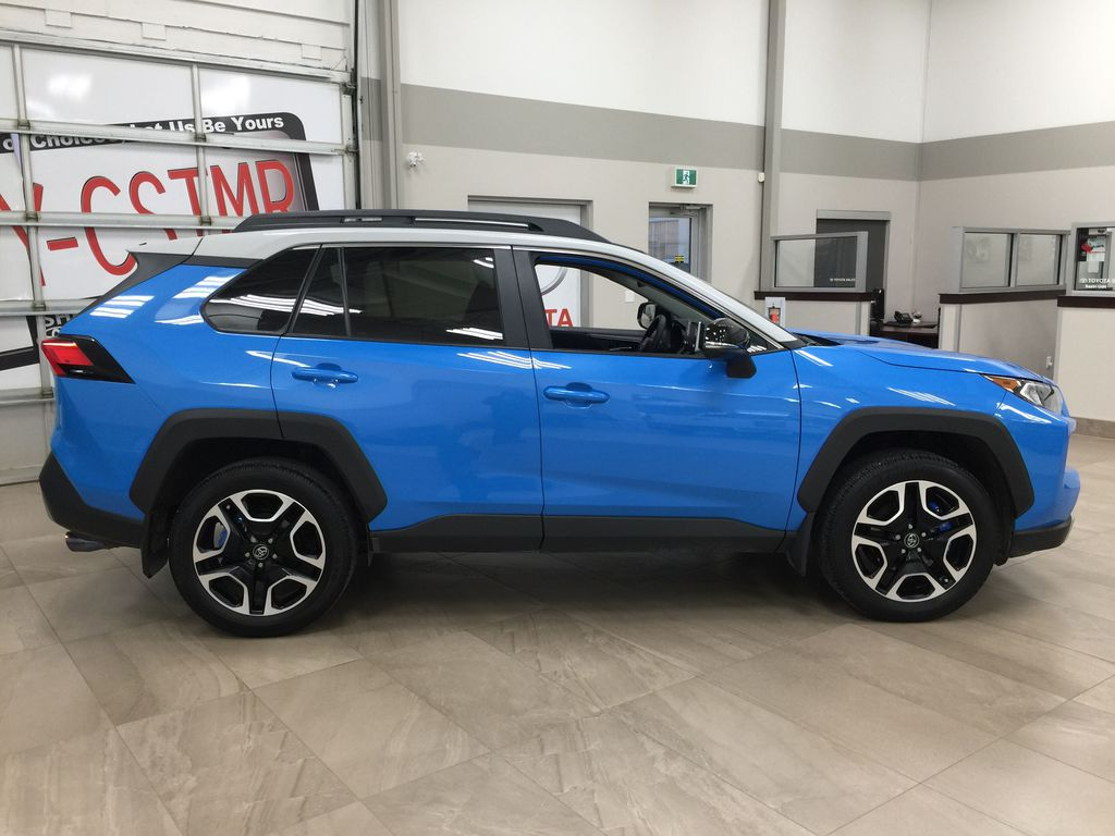 Blue[Blue Flame w/Ice Edge Roof] 2020 Toyota RAV4 Trail AWD Right Side Photo in Sherwood Park AB