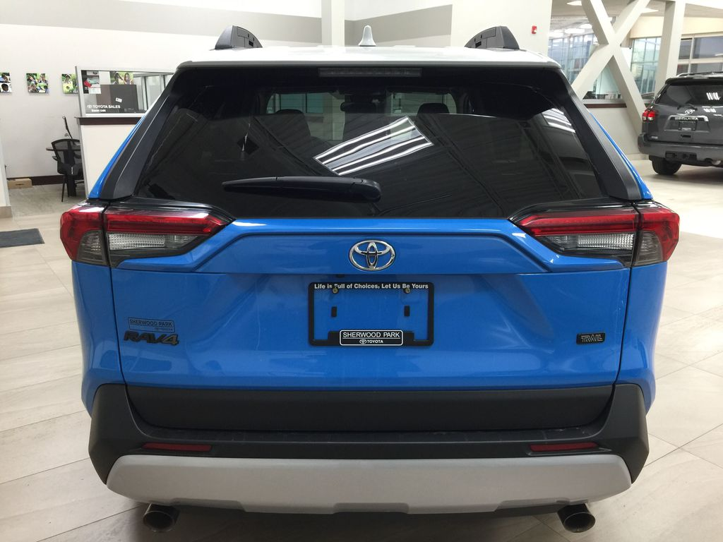 Blue[Blue Flame w/Ice Edge Roof] 2020 Toyota RAV4 Trail AWD Rear of Vehicle Photo in Sherwood Park AB