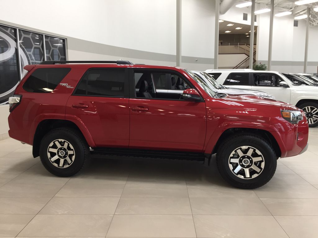 Red[Barcelona Red Metallic] 2021 Toyota 4Runner TRD Off-Road Right Side Photo in Sherwood Park AB