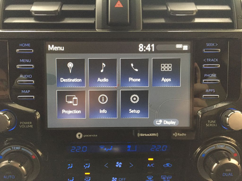 Red[Barcelona Red Metallic] 2021 Toyota 4Runner TRD Off-Road Infotainment Closeup Photo in Sherwood Park AB
