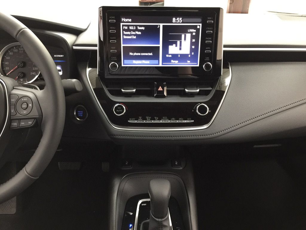 Black[Black Sand Pearl] 2021 Toyota Corolla SE Central Dash Options Photo in Sherwood Park AB