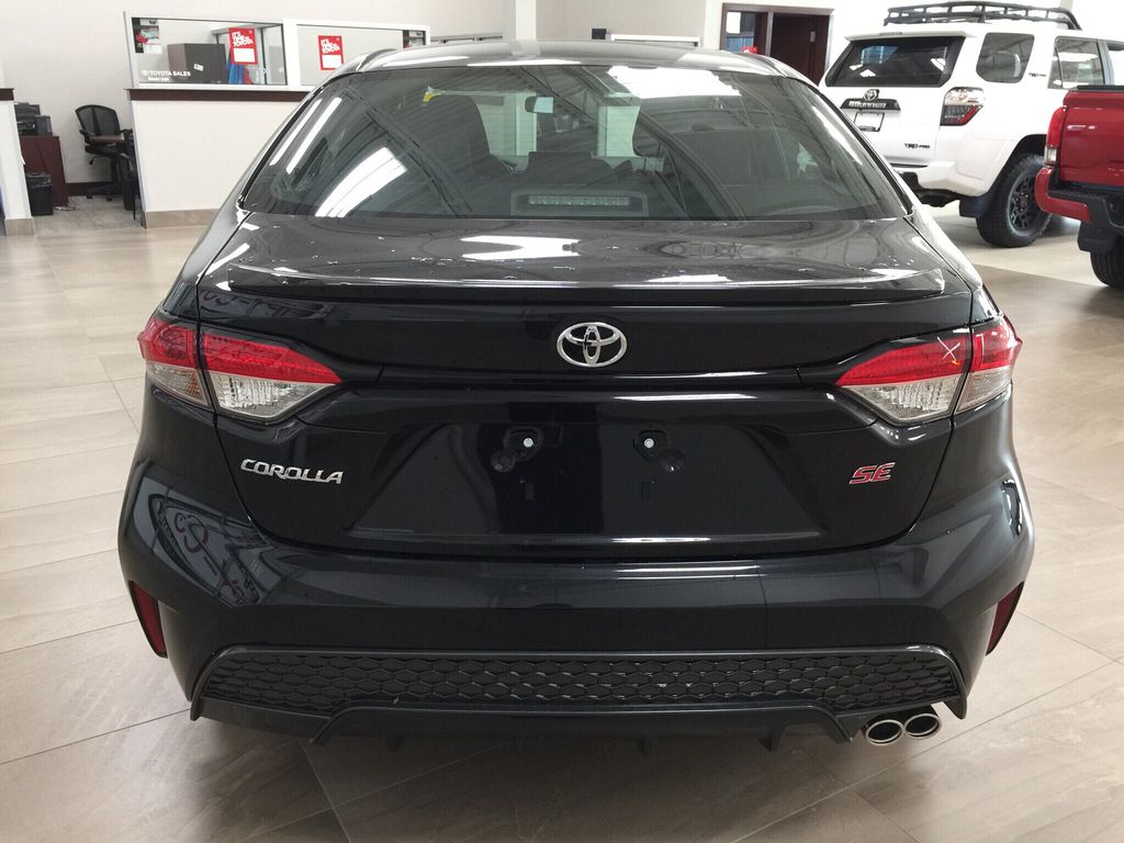 Black[Black Sand Pearl] 2021 Toyota Corolla SE Rear of Vehicle Photo in Sherwood Park AB
