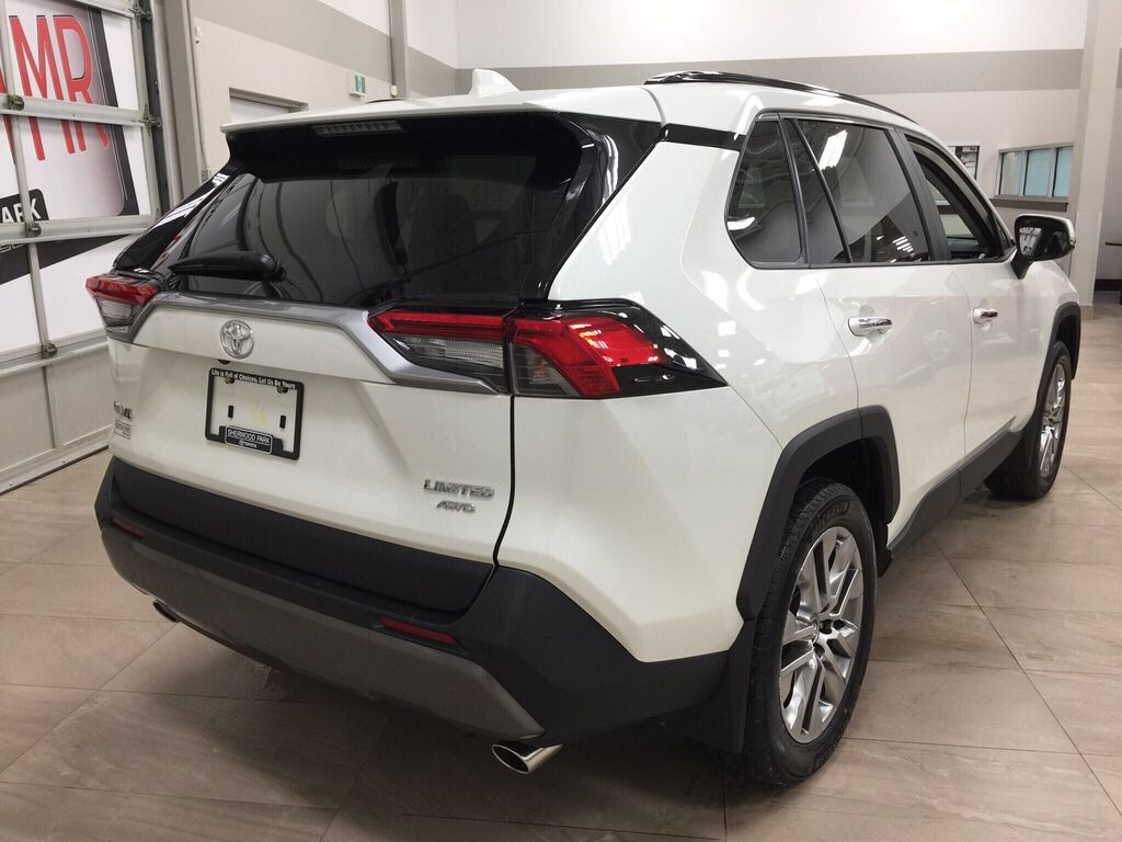White[Blizzard Pearl] 2021 Toyota RAV4 Limited Right Rear Corner Photo in Sherwood Park AB