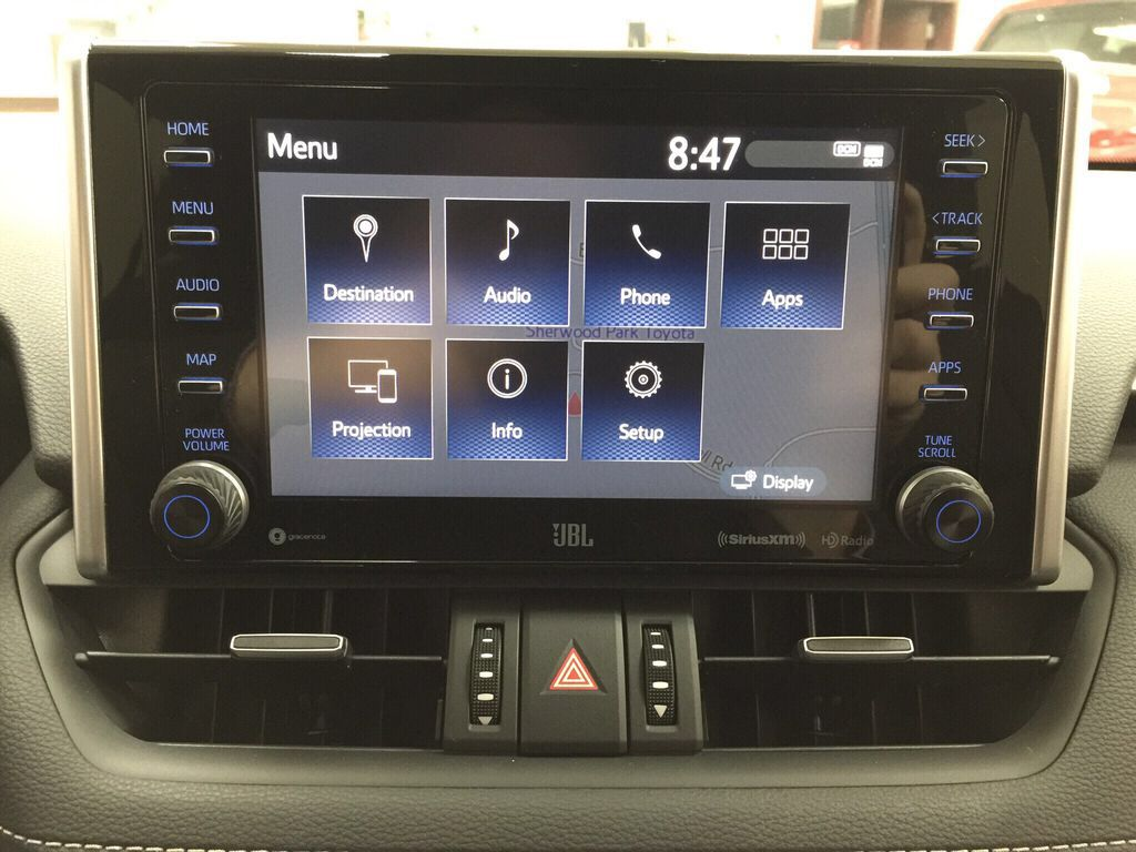 White[Blizzard Pearl] 2021 Toyota RAV4 Limited Infotainment Closeup Photo in Sherwood Park AB