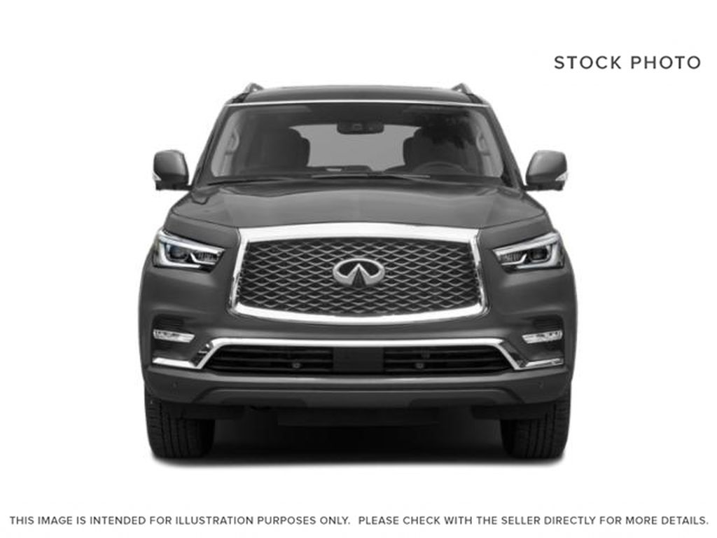 Red[Coulis Red Pearl] 2020 INFINITI QX80 Front Vehicle Photo in Edmonton AB