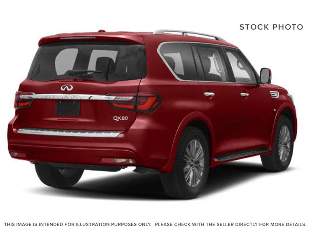 Red[Coulis Red Pearl] 2020 INFINITI QX80 Right Rear Corner Photo in Edmonton AB