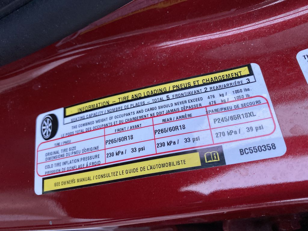 Red[Inferno Red Crystal Pearl] 2011 Jeep Grand Cherokee DOT Label Photo in Edmonton AB