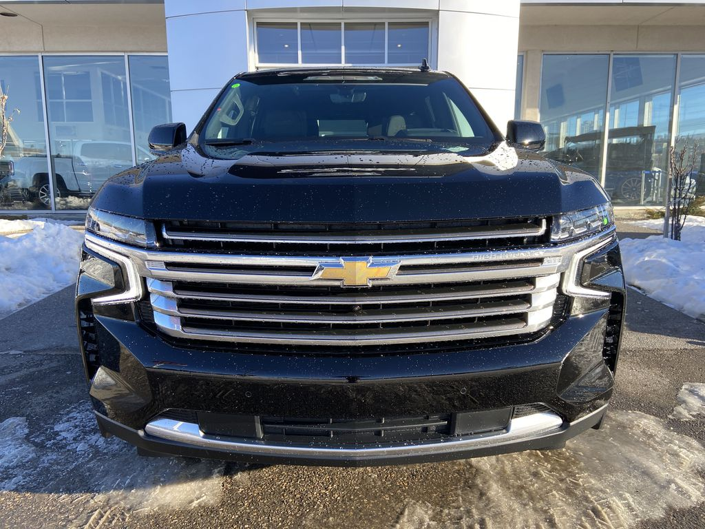 Black[Black] 2021 Chevrolet Tahoe High Country Front Vehicle Photo in Calgary AB