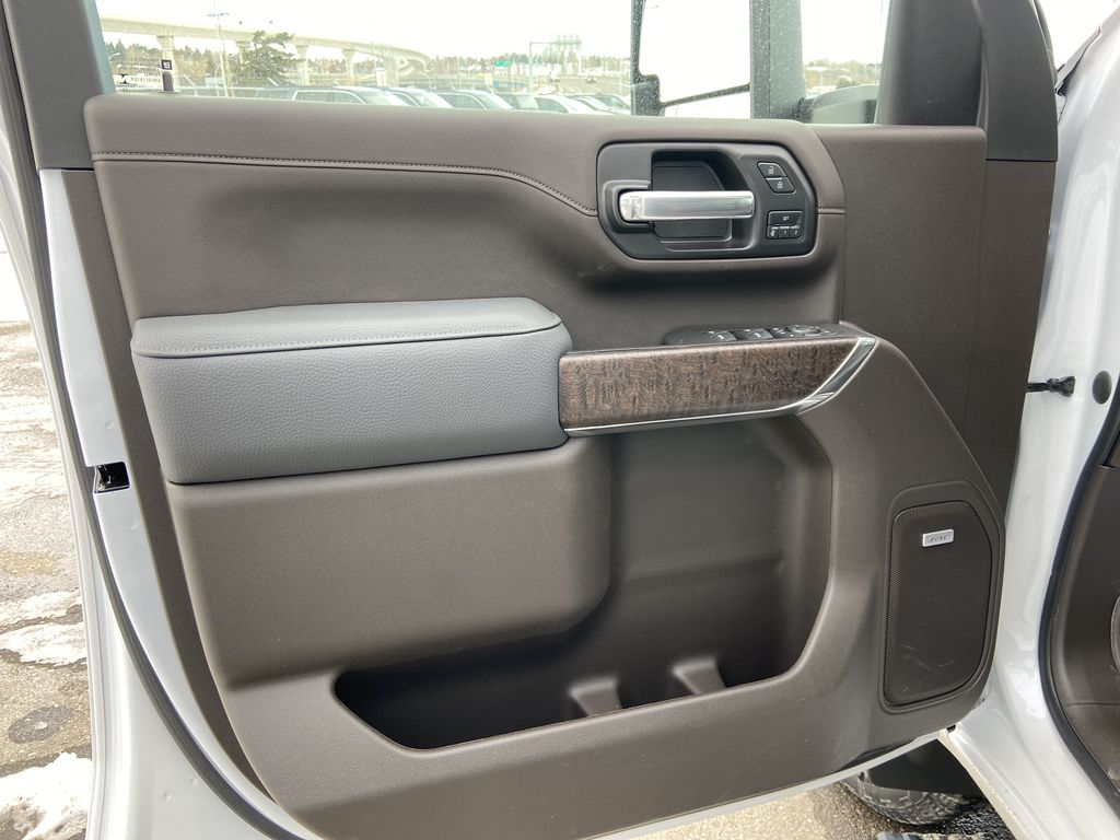 White[White Frost Tricoat] 2021 GMC Sierra 3500HD Denali Left Front Interior Door Panel Photo in Calgary AB