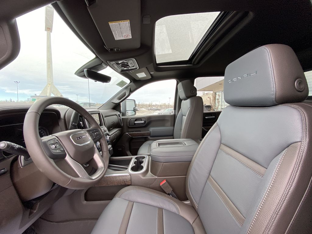 White[White Frost Tricoat] 2021 GMC Sierra 3500HD Denali Left Front Interior Photo in Calgary AB