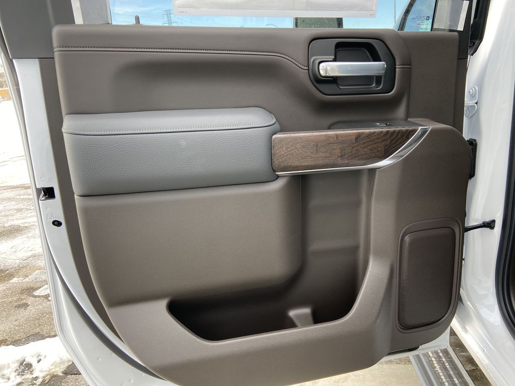 White[White Frost Tricoat] 2021 GMC Sierra 3500HD Denali Left Rear Interior Door Panel Photo in Calgary AB