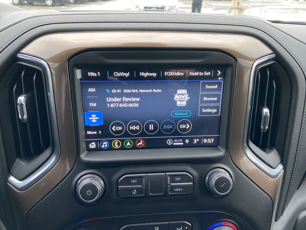 Black[Black] 2021 Chevrolet Silverado 1500 High Country Radio Controls Closeup Photo in Calgary AB