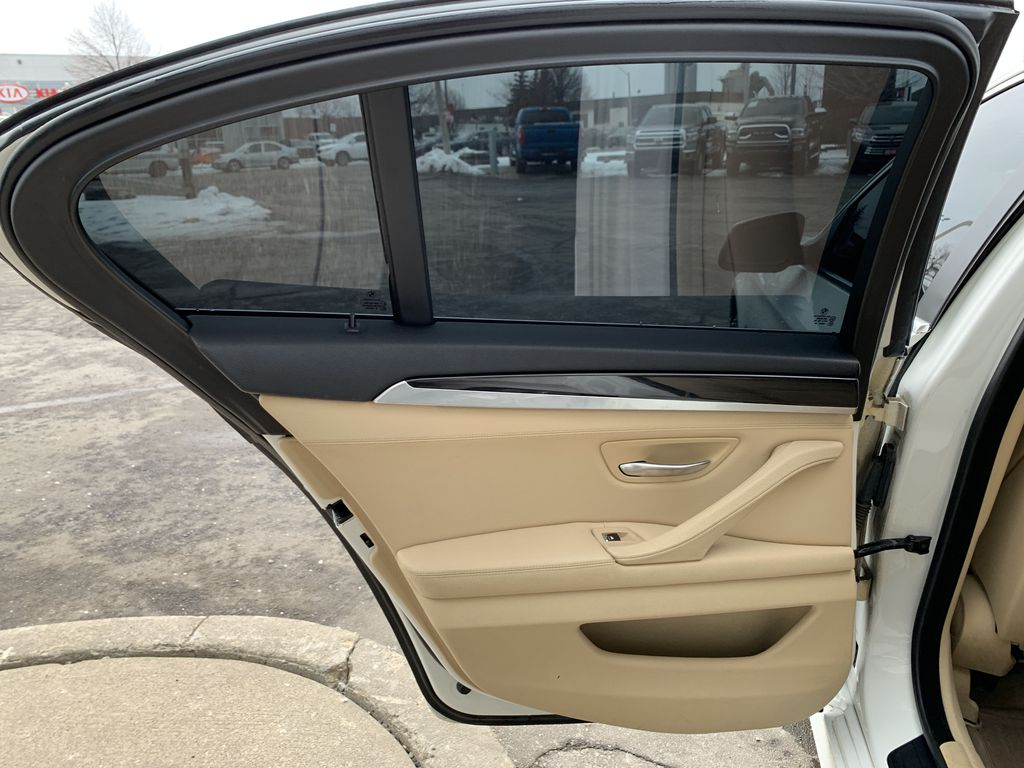 White[Alpine White] 2012 BMW 5 Series Left Side Rear Seat  Photo in Brampton ON