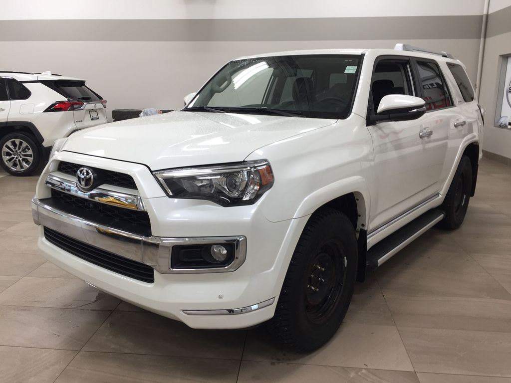 White[Alpine White] 2018 Toyota 4Runner LIMITED - 7 PASSENGER Left Front Corner Photo in Sherwood Park AB
