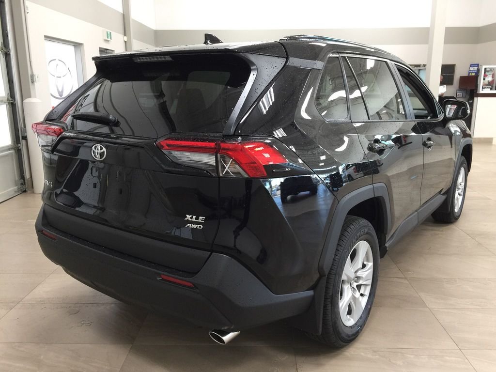 Black[Midnight Black Metallic] 2021 Toyota RAV4 XLE AWD Right Rear Corner Photo in Sherwood Park AB