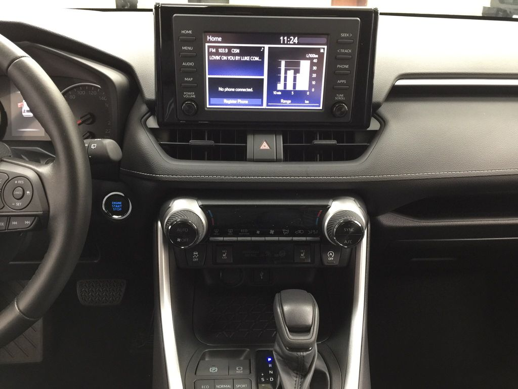 Black[Midnight Black Metallic] 2021 Toyota RAV4 XLE AWD Central Dash Options Photo in Sherwood Park AB